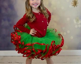 Green and Red Christmas tutu. Satin ribbon trimmed Petti tutu.