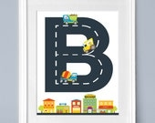Personalized Construction Art Boy's Room Wall Print Decor Playroom Nursery Art Personalized Initial And Name  Fun Birthday Keepsake Gift