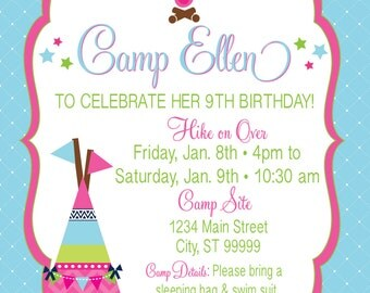 Glamping Invite Slumber Party Camping Party Glamp Invitation