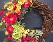 Floral Wreaths, Pink and Green, Yellow, Flowers, Preppy Colors, Spring Wreath, Spring Florals, Spring Trends, Floral Spring Decor