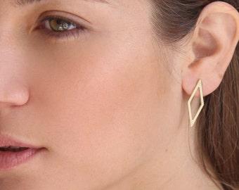 Rhombus earrings | Drop earrings | Everyday gold earrings | Gifts for her