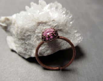 Cubic Zirconia Ring - Glitter Pink Ring - Gemstone Ring - Copper Ring - Size Adjustable Stackable Rings