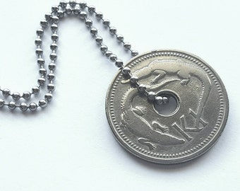 1975 Papua New Guinea Coin Necklace - Stainless Steel Ball Chain - Alligator