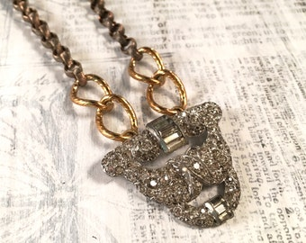 Modern Bling Upcycled Clear Rhinestone Necklace Mixed Metal