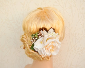 Bridal hair clip, Bridal headpiece, Rustic hair piece, Wedding hair piece, Ivory flower for hair, Bridal hair flower, Floral hair clip