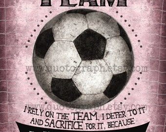 Soccer Mia Hamm Quote - photo print -  Member of a Team - Poster Wall Art Textured Distressed Pink Sports Girls Room Inspirational Decor
