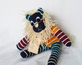 Leroy Lion. Sock animal, sock lion, sock monkey, soft plush toy for children.