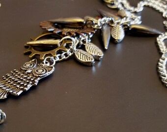Steampunk Inspired Car Mirror Charm with Plated Spike, Gears, Sprockets, and Owl Charms