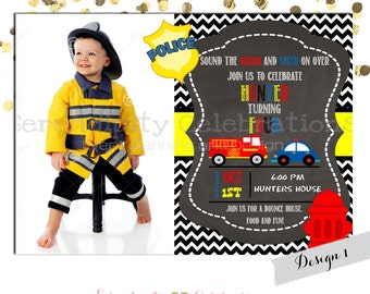 Policecar and Firetruck Invitation Birthday Invitation  Firefighter Invitation DIY Invitation Red Firetruck Birthday Invite Policeman Invite