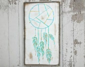 Mint and aqua mini dream catcher rustic wood sign