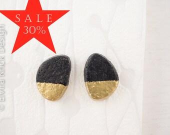 Black studs, matte black earrings, handmade ear studs, black stud earrings, polymer clay jewelry, Dutch Design