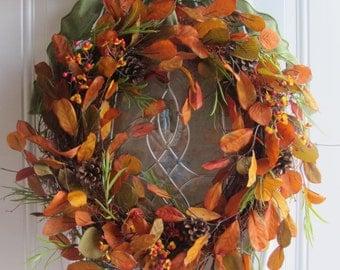 Fall Wreath, Autumn Wreath, Leaf Wreath, Fall Door Wreath, Fall Twig Wreath -Fall Rustic Country Wreath - Fall Outdoor Wreath - Thanksgiving