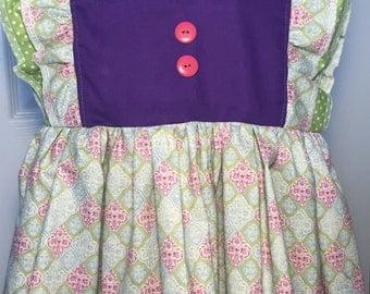 Purple dress Flutter sleeve dress twirly ruffle dress girls size 4T