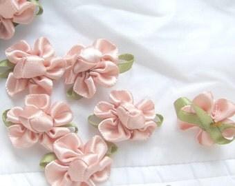 Handmade Ribbon Roses, Rose Appliques, PALE PINK or CREME