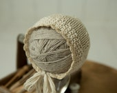 handknit newborn bonnet cream moss stitch gold