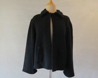 Black Wool Boucle Jacket - 1950s
