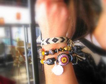 Unique Yoga Bracelets. Black &White Handwoven Aztec style Friendship Bracelet and 2 OOAK Beaded Bracelet. Set of 3