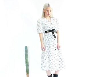 Vintage 70s Polka Dot Midi Dress