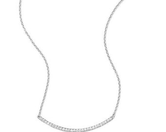 """18"""" +2 Sterling Silver Rhodium Plated Curved CZ Bar Necklace"""