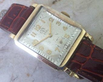 Carson Pirie Scott Free Shipping, Felca Swiss Vintage Men's Wrist Watch, 17 Jewels, Rectangular Case, 10K Gold Filled Working Great, Rare