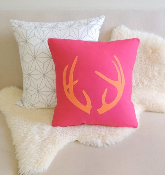 Gus Modern Chalet Pillows : Items similar to Antler Applique Pillow Cover - Chalet Chic on Etsy