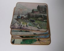 Set of 6 Vintage Boxed Win-El-Ware Vernon Ward Cornish Scene Place Mats full set