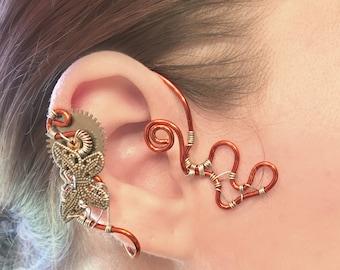 Silver and Brass  Butterfly Steampunk Wire Ear Wrap - Right Ear