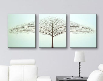 "SALE Wall Art Tree of Life Painting Canvas Art, Very Light Blue Paintings Home Decor Large Wall Decor Wall Hangings Modern Art Trees 48""x20"""