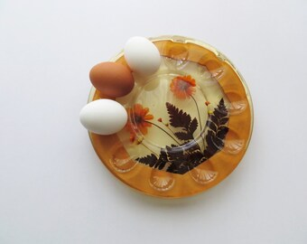 70s Deviled Eggs Plate, Resin and Dried Flowers, Hors d'oeuvre Serving Tray, Holiday Entertaining Host Gift, Made in USA