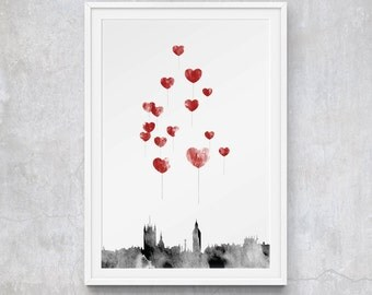 A3 Love in London - Red Heart Balloons Over London Skyline with Big Ben, Limited Edition Art Print