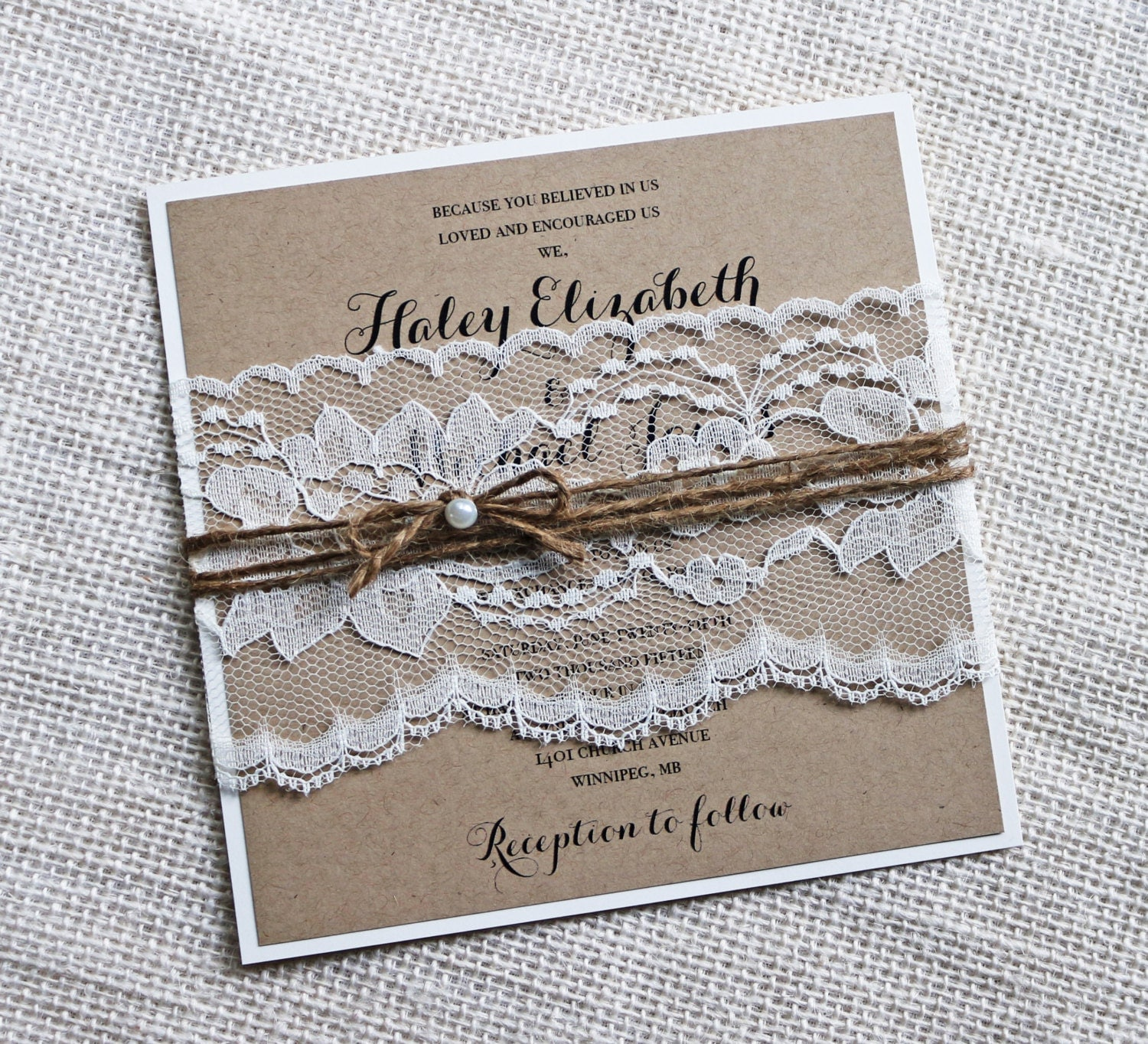 Wedding Invitations With Lace: Rustic Wedding Invitations Lace Wedding Invitation Kraft