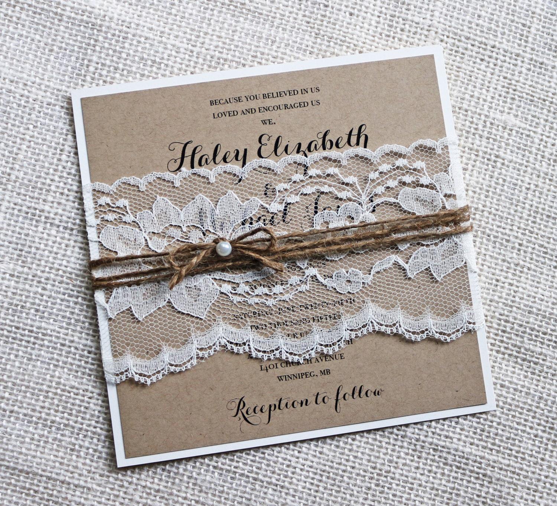 Rustic Wedding Invitations Lace Wedding Invitation Kraft