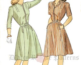 DuBarry 5838 Misses' Vintage 1940s Shirtwaist Dress Sewing Pattern