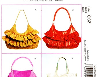 McCall's M5899 Fashion Accessories Ruffled or Fringed Tote Bags Sewing Pattern
