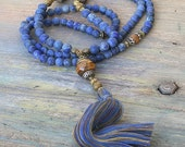 Beautiful frosted lapis lazuli gemstone mala necklace