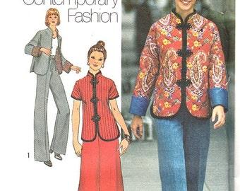 Vintage 70's Jacket Sewing Pattern Kimono Sleeves Mandarin Collar Wide Leg Pants Long Maxi Skirt Size 10 Bust 32 1/2 Simplicity 7224 Uncut
