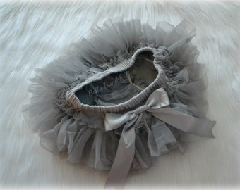 Gray Silver Chiffon All The Way Around Ruffle Bum Baby Tutu Bloomer Diaper Cover Satin Bow Photo Prop, Fits Newborn 6 9 12 18 24 month