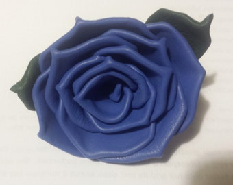 Medium Blue Cowhide Leather Rose Pin