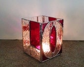 Stained Glass Candle Holder - Love - Pencil Holder - Valentines Gift - Wedding Gift - Votive Holder - Anniversary Gift - Desk Accessory