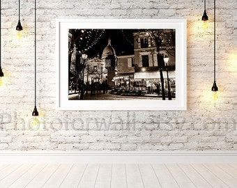 Sacré coeur Montmartre Paris photography, paris christmas decor, sepia photography, Paris bedroom decor, Paris wall art 8x10 8x12