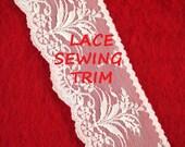 11 YARDS, Light CREAM 2-3/4 Inch, Flat Lace Sewing Edge Trim, Flowering Plants, Scallop Edge, L177