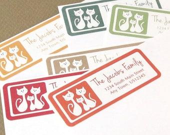 Address Labels, Return Address Labels, Cat Family Address Labels, Personalized Return Address Label Stickers, Cat Address Labels, Kitty
