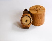 Carbonised Bamboo Wooden Watch with Leather Strap