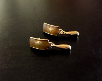Vintage Abstract Gold Tone Gold Enamel Dangle Earrings for Pierced Ears