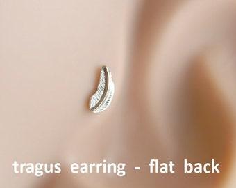 Tragus earring, Feather tragus earring, tragus 16G, tragus BioFlex, tragus piercing, labret piercing,tragus earring flat back,