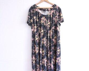 Faded Flower 90s Grunge Midi Dress