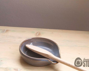 Spoon Rest - Blue Stoneware Pottery