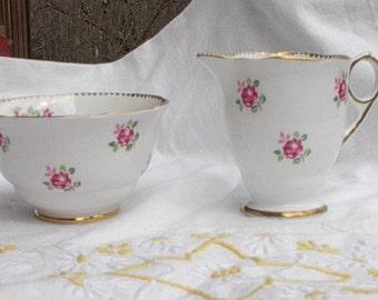 Royal Stafford Tudor Rose Sugar and Creamer, Bone China