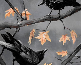 Two Ravens and a Maple Fine Art Print