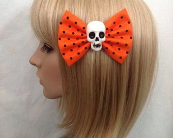 Orange black polka dot skull hair bow clip rockabilly psychobilly gothic Lolita rock punk pin up girl creepy skeleton sugar Halloween